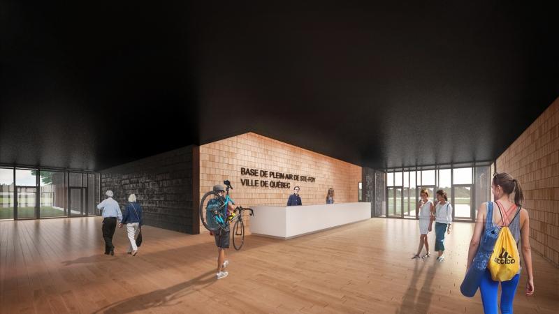 Hall d'entrée - Base de plein air de Sainte-Foy. Architecture, design, Parka Architecture & Design, ville de Québec.