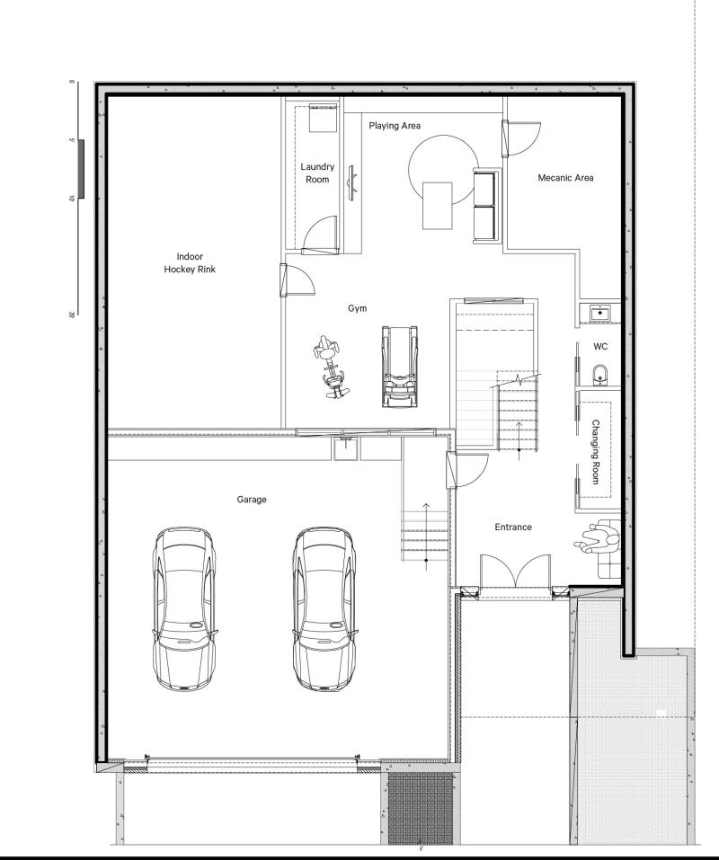 Plan d'architecture du sous-sol avec garage et patinoire