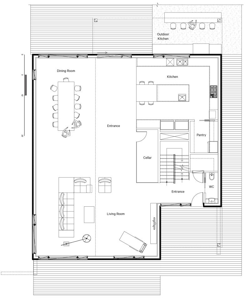 Plan d'architecture - Cuisine, salon et salle à manger