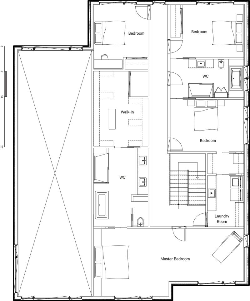 Plan d'architecture de l'étage 2 - Chambres